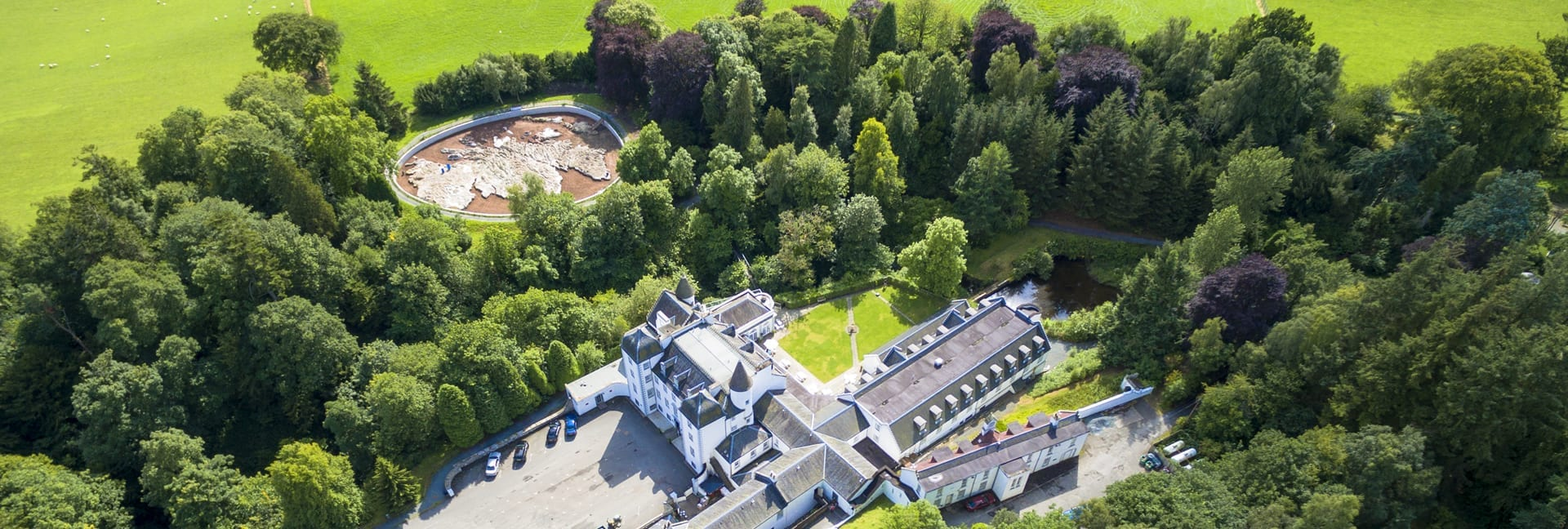 An aerial view of Barony Castle
