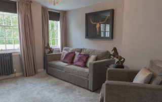 Seating area of the Dean View Suite at Barony Castle