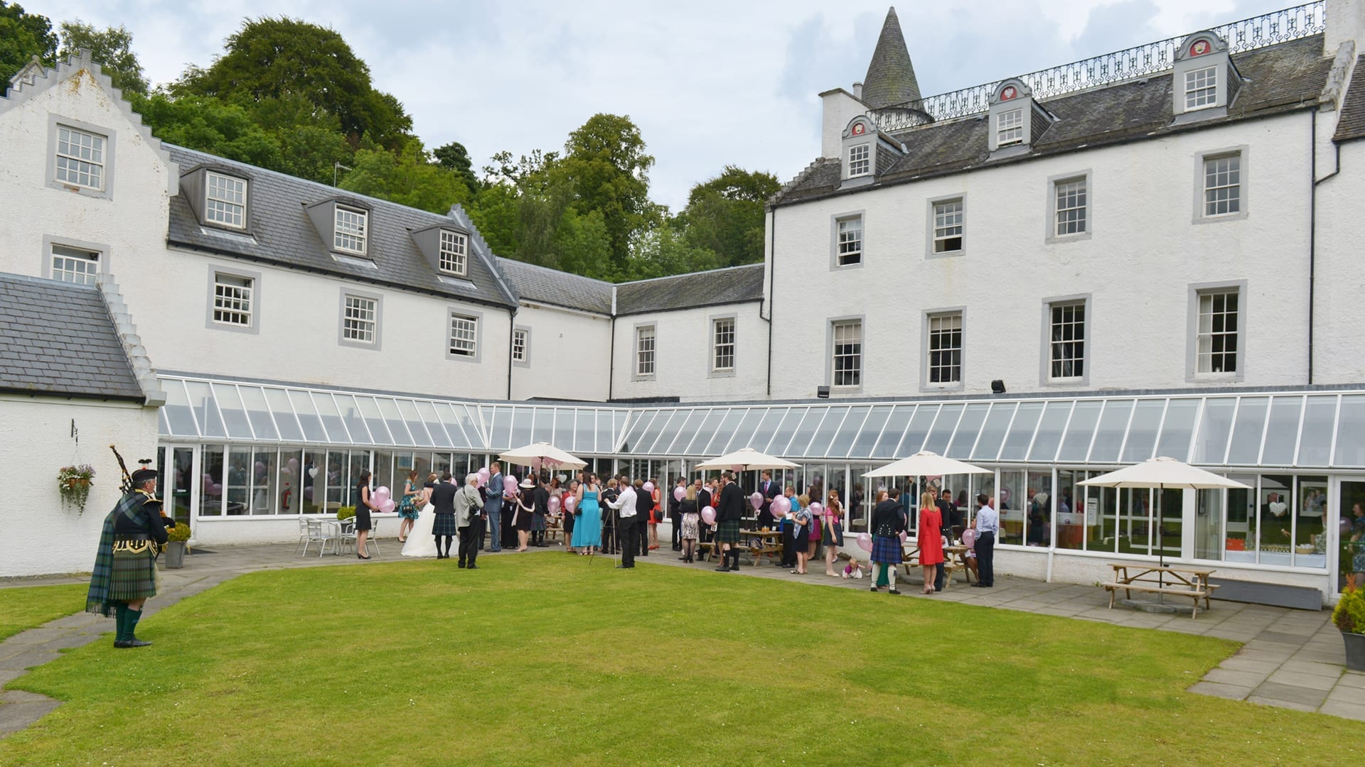 A wedding in the courtyard at Barony Castle
